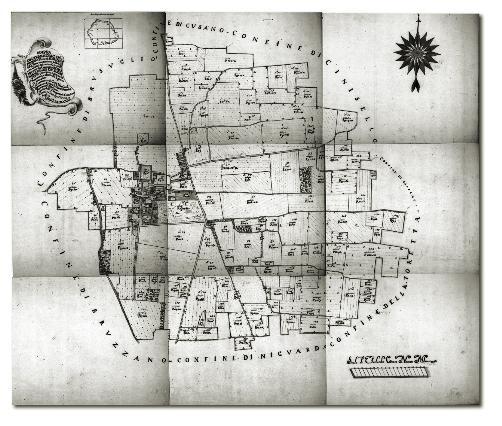 Mappa del territorio dal censimento catastale del 1721