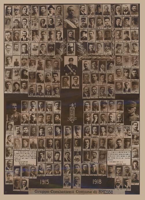 Composizione fotografica dei combattenti bressesi della Prima Guerra Mondiale